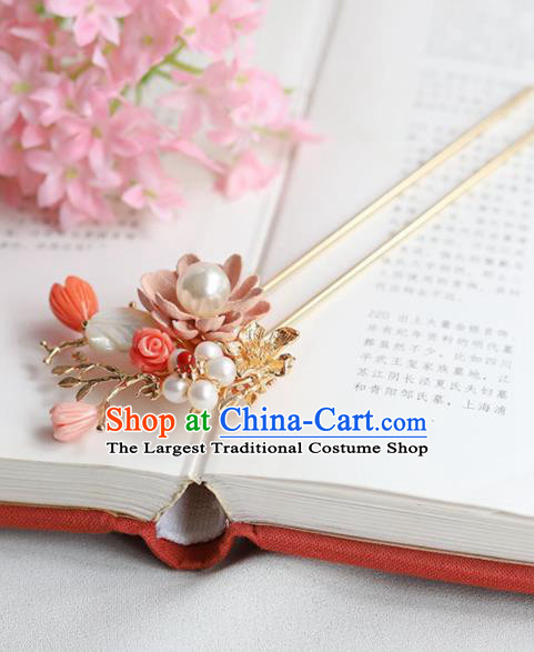 Chinese Ancient Princess Pearls Hairpins Tassel Step Shake Traditional Hanfu Hair Accessories for Women