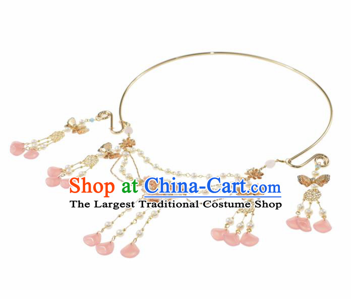 Handmade Chinese Hanfu Pearls Necklace Traditional Ancient Princess Chalcedony Tassel Necklet Accessories for Women