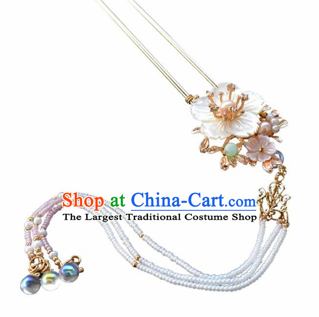 Chinese Ancient Princess Palace Shell Flower Hairpins Traditional Handmade Hanfu Hair Accessories Complete Set for Women