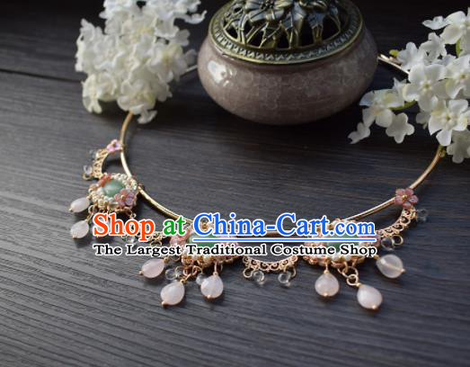 Handmade Chinese Hanfu Jade Necklace Traditional Ancient Princess Necklet Accessories for Women
