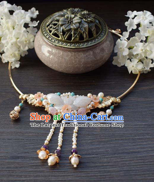 Handmade Chinese Hanfu Jade Necklace Traditional Ancient Princess Tassel Necklet Accessories for Women