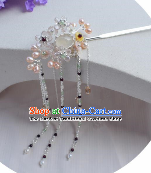 Chinese Ancient Princess Palace Pearls Tassel Hair Clip Hairpins Traditional Handmade Hanfu Hair Accessories for Women