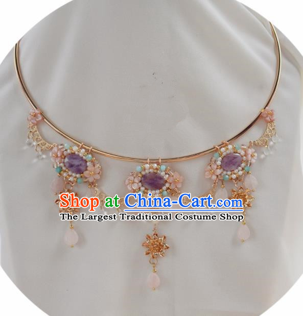 Handmade Chinese Hanfu Purple Shell Necklace Traditional Ancient Princess Necklet Accessories for Women