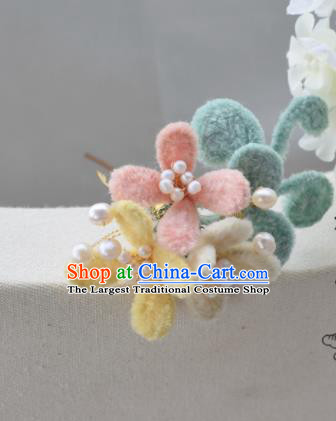 Chinese Ancient Princess Palace Velvet Flowers Hair Clip Hairpins Traditional Handmade Hanfu Hair Accessories for Women