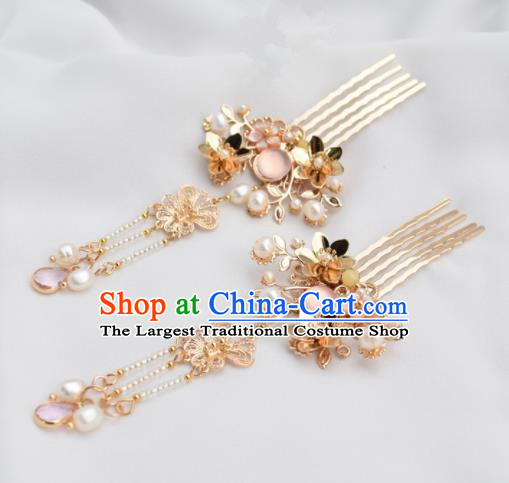 Chinese Ancient Princess Palace Pink Crystal Hair Combs Hairpins Traditional Handmade Hanfu Hair Accessories for Women
