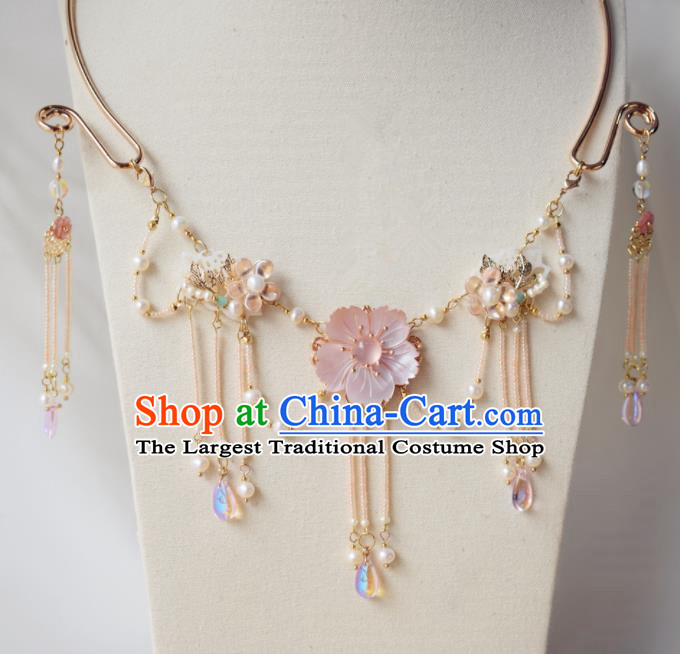 Handmade Chinese Hanfu Tassel Shell Necklace Traditional Ancient Princess Necklet Accessories for Women