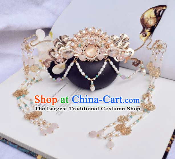 Chinese Ancient Princess Palace Pearls Tassel Hair Crown Hairpins Traditional Handmade Hanfu Hair Accessories for Women