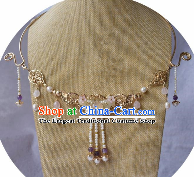 Handmade Chinese Hanfu Pearls Tassel Jade Necklace Traditional Ancient Princess Necklet Accessories for Women