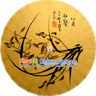 Handmade Chinese Traditional Ink Painting Orchid Umbrellas Ancient Oiled Paper Umbrella
