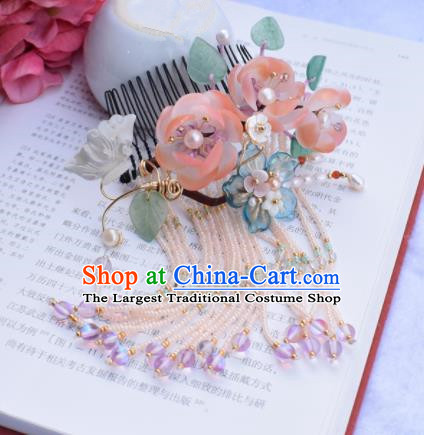Chinese Ancient Princess Palace Pink Flowers Hair Combs Hairpins Traditional Handmade Hanfu Hair Accessories for Women