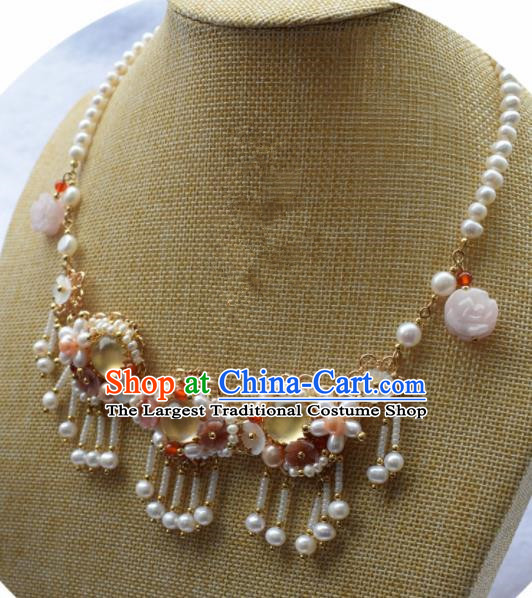 Handmade Chinese Hanfu Opal Pearls Tassel Necklace Traditional Ancient Princess Necklet Accessories for Women