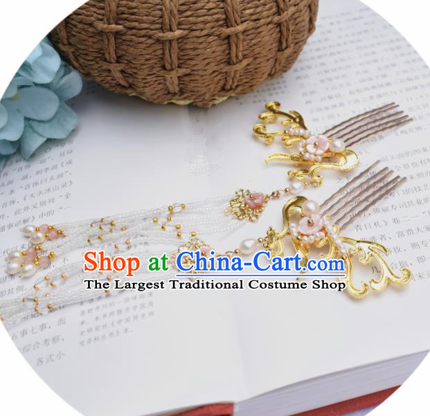 Chinese Ancient Princess Tassel Golden Hair Combs Palace Hairpins Traditional Handmade Hanfu Hair Accessories for Women