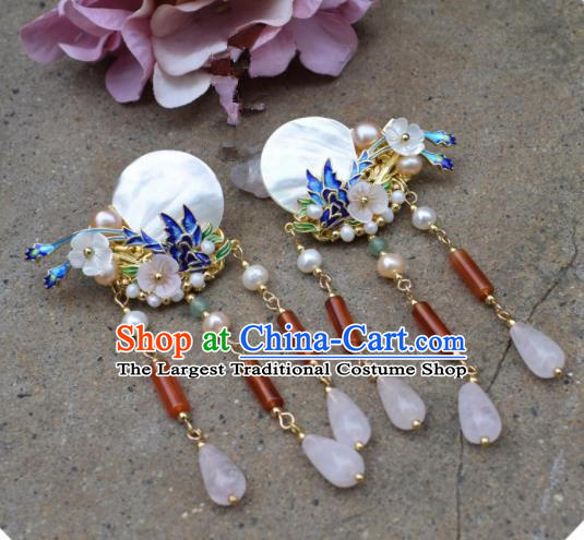 Chinese Ancient Palace Shell Cloisonne Hair Claws Princess Hairpins Traditional Handmade Hanfu Hair Accessories for Women