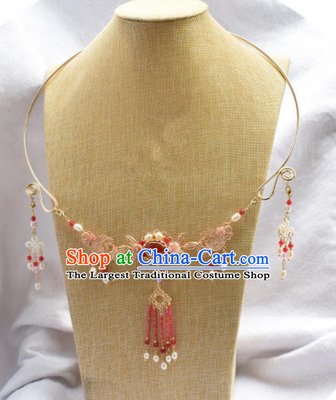 Handmade Chinese Hanfu Red Agate Tassel Necklace Traditional Ancient Princess Necklet Accessories for Women