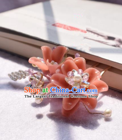Chinese Ancient Palace Pink Flowers Hair Clip Princess Hairpins Traditional Handmade Hanfu Hair Accessories for Women