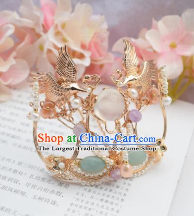 Chinese Ancient Princess Palace Cranes Hair Comb Hairpins Traditional Handmade Hanfu Hair Accessories for Women