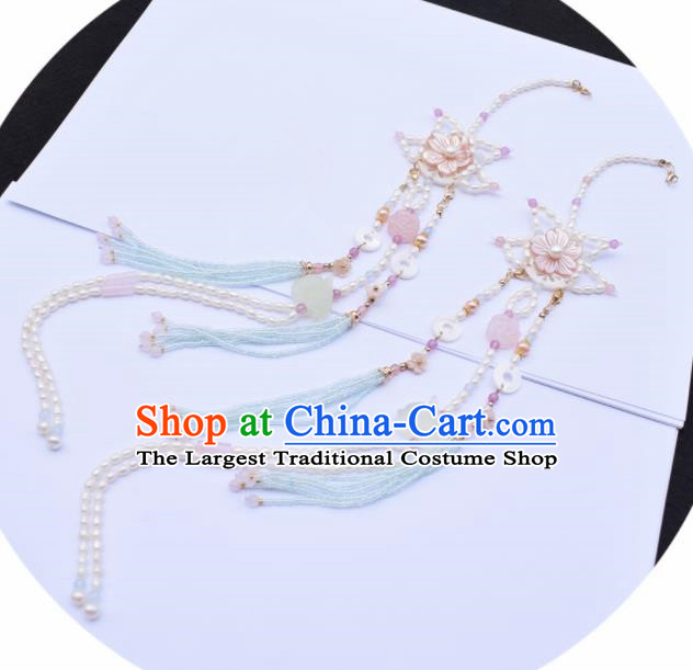 Handmade Chinese Ancient Princess Jade Tassel Pendant Traditional Hanfu Pearls Waist Accessories for Women