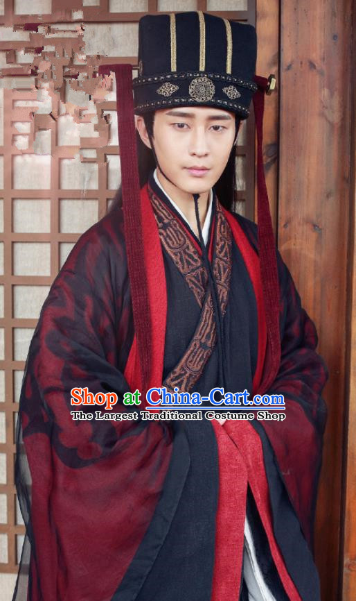 Chinese Ancient Drama Hanfu Clothing Traditional Northern and Southern Dynasties Eunuch Historical Costume and Headwear for Men