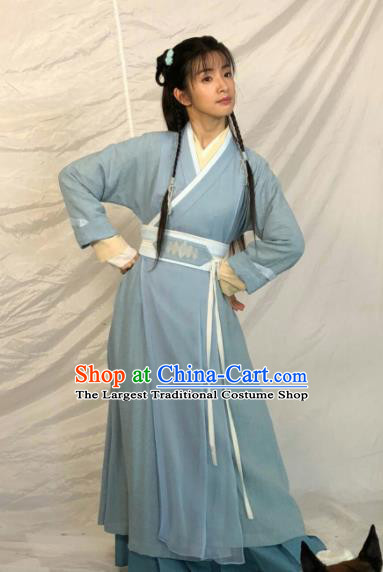 Chinese Ancient Village Girl Hanfu Dress Traditional Northern and Southern Dynasties Swordswoman Historical Costume for Women