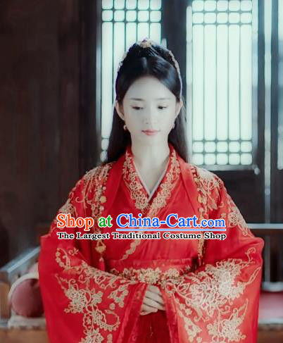 Chinese Ancient Princess Wedding Red Hanfu Dress Traditional Northern and Southern Dynasties Rani Historical Costume for Women