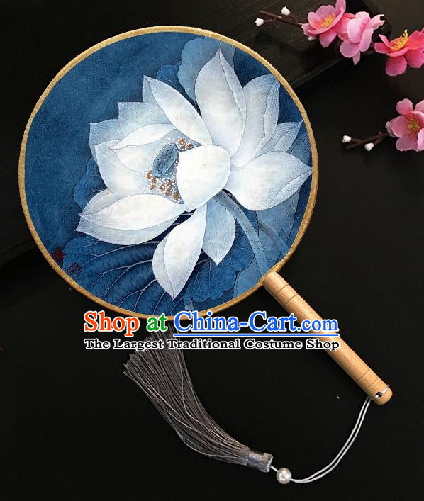 Chinese Handmade Classical Palace Fans Printing Lotus Blue Silk Round Fan for Women