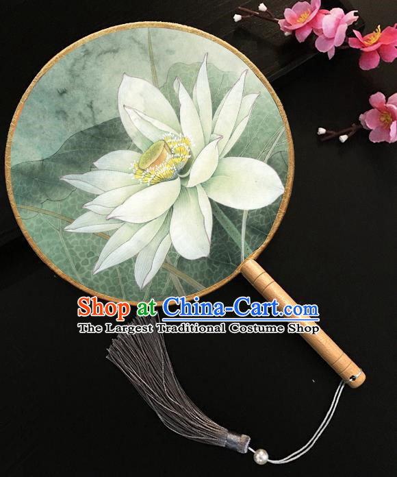 Chinese Handmade Classical Palace Fans Printing Lotus Green Silk Round Fan for Women