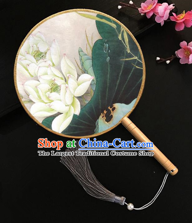 Chinese Handmade Classical Palace Fans Painting Lotus Silk Round Fan for Women