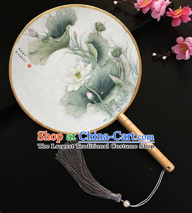 Chinese Handmade Classical Palace Fans Printing Lotus Silk Round Fan for Women