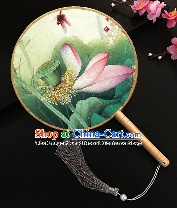 Chinese Handmade Classical Palace Fans Printing Lotus Dragonfly Silk Round Fan for Women