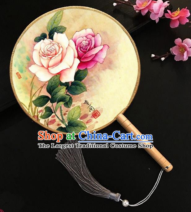 Chinese Handmade Classical Palace Fans Ink Painting Roses Silk Round Fan for Women