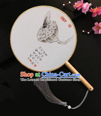 Chinese Handmade Classical Palace Fans Ink Painting Lotus Seedpod Silk Round Fan for Women