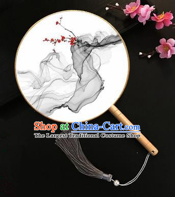 Chinese Handmade Classical Palace Fans Traditional Ink Painting Plum Blossom Silk Round Fan for Women