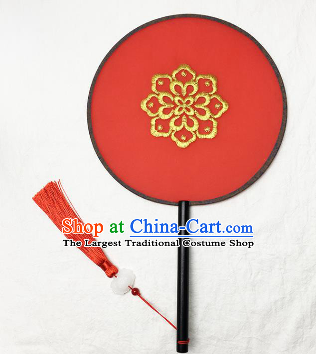 Chinese Handmade Classical Palace Fans Traditional Embroidered Red Silk Round Fan for Women