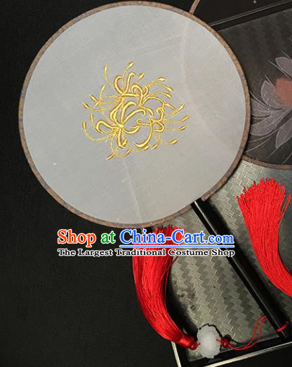 Chinese Handmade Classical Palace Fans Traditional Embroidered White Silk Round Fan for Women
