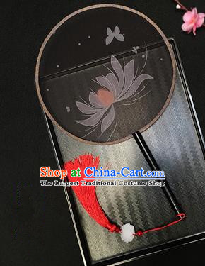 Chinese Handmade Classical Palace Fans Traditional Embroidered Lotus Black Silk Round Fan for Women
