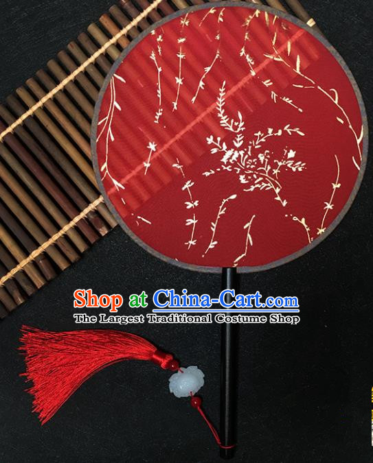 Chinese Handmade Classical Palace Fans Traditional Gilding Willow Red Silk Round Fan for Women