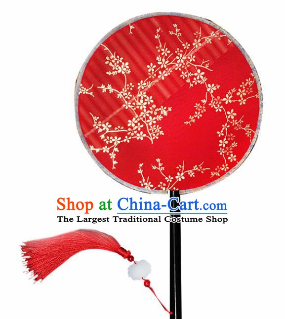 Chinese Handmade Classical Palace Fans Traditional Gilding Plum Blossom Red Silk Round Fan for Women