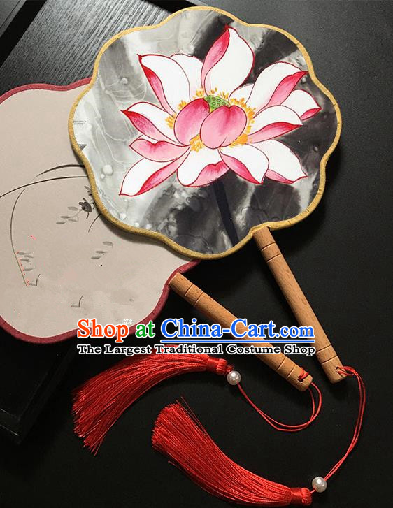 Chinese Handmade Classical Palace Fans Traditional Ink Painting Pink Lotus Hanfu Fan for Women