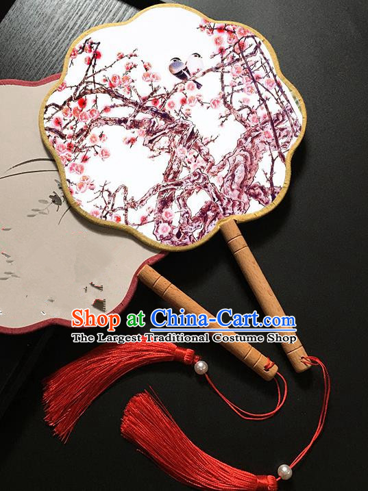 Chinese Handmade Classical Palace Fans Traditional Printing Plum Blossom Birds Hanfu Fan for Women