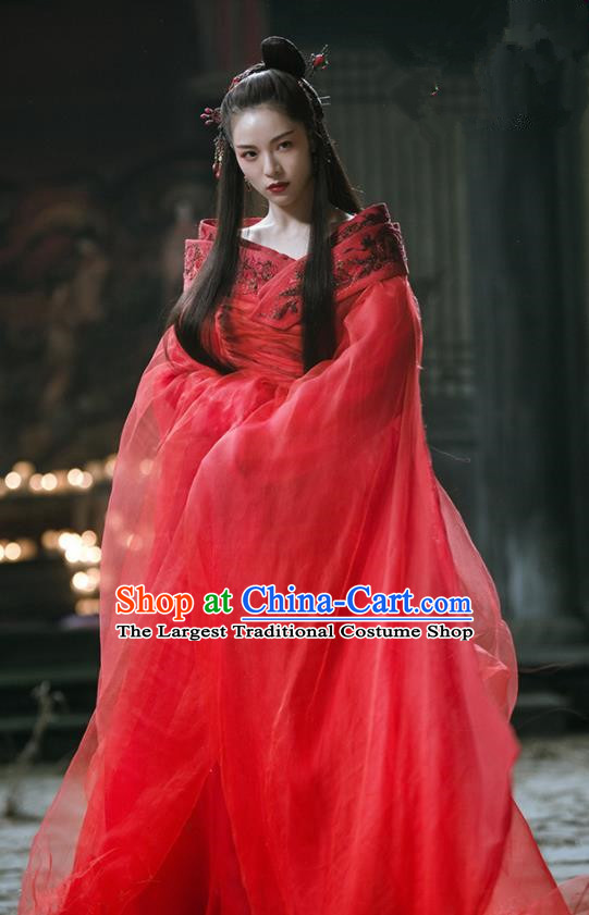The Knight of Shadows Chinese Ming Dynasty Princess Wedding Red Hanfu Dress and Headpiece for Women