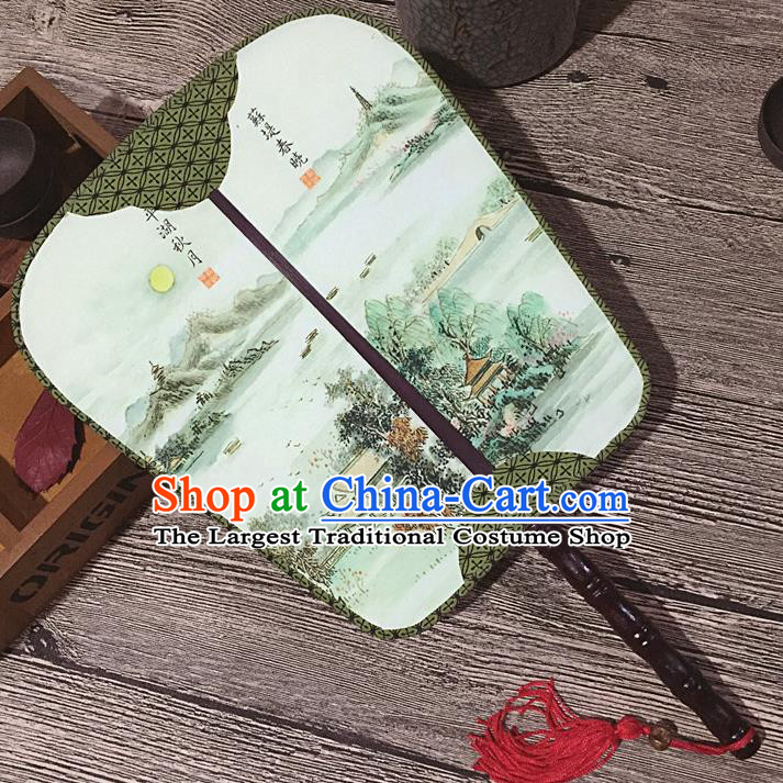 Chinese Handmade Classical Palace Fans Traditional Printing Su Causeway Hanfu Square Fan for Women