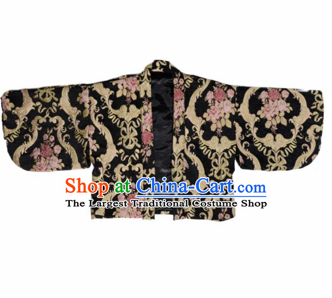 Japanese Handmade Kimono Black Embroidered Haori Costume Japan Traditional Jacket for Women