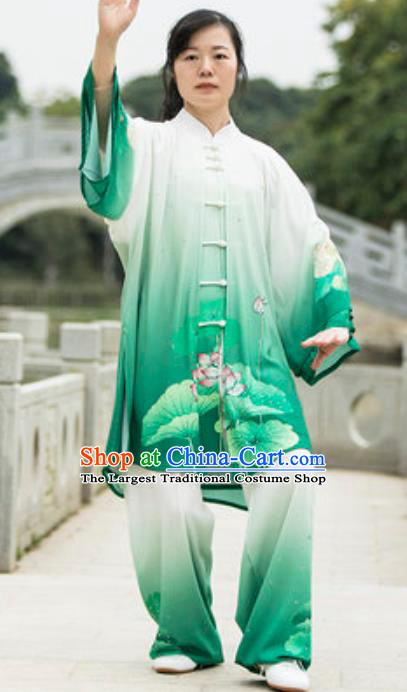 Top Kung Fu Costume Martial Arts Training Green Uniform Gongfu Shaolin Wushu Clothing for Women