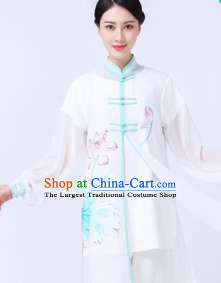 Chinese Traditional Tai Chi Printing Lotus Costume Martial Arts Uniform Kung Fu Wushu Clothing for Women