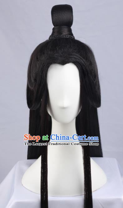 Chinese Traditional Jin Dynasty Prince Hanfu Wigs Sheath Ancient Swordsman Hairpiece Handmade Chignon for Men
