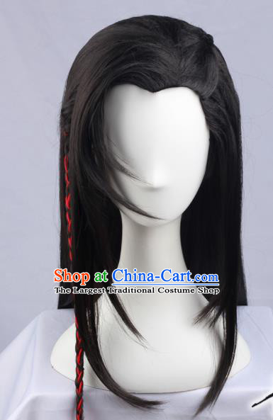 Chinese Traditional Young Hero Hanfu Wigs Sheath Ancient Swordsman Hairpiece Handmade Chignon for Men
