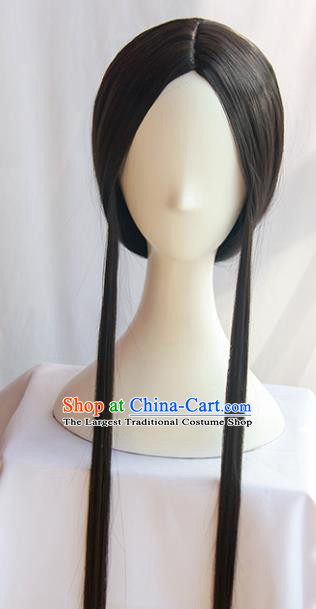 Handmade Chinese Traditional Hanfu Wigs Sheath Ancient Jin Dynasty Imperial Consort Chignon for Women