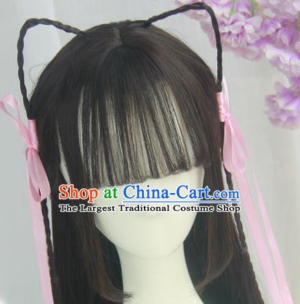Handmade Chinese Ancient Tang Dynasty Young Lady Blunt Bangs Chignon Traditional Hanfu Wigs Sheath for Women