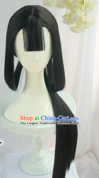 Handmade Chinese Ancient Tang Dynasty Young Lady Chignon Traditional Hanfu Wigs Sheath for Women