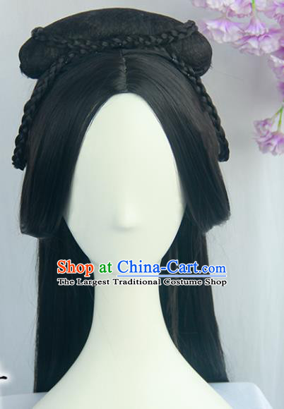 Handmade Chinese Ancient Han Dynasty Princess Headpiece Chignon Traditional Hanfu Wigs Sheath for Women